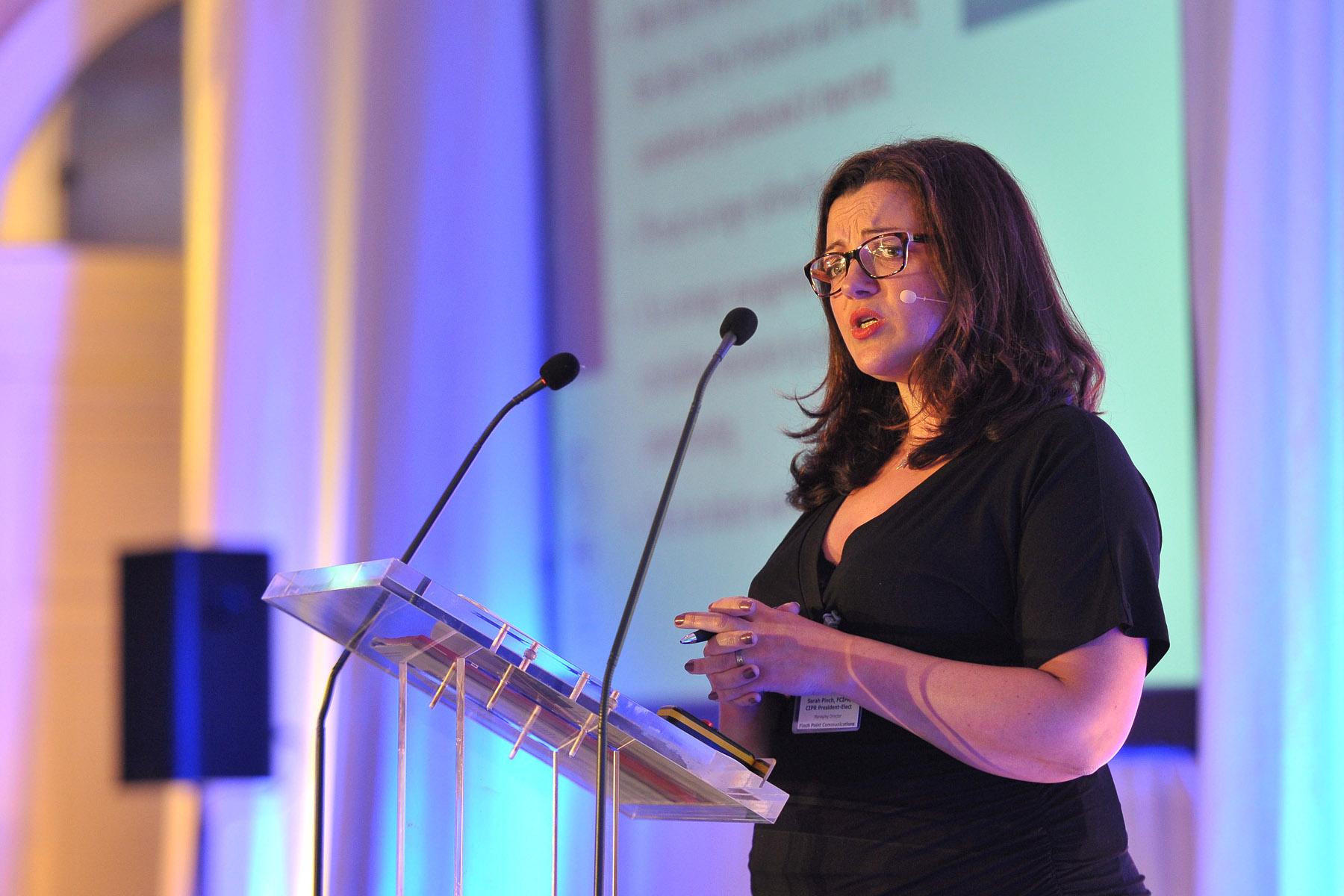 Sarah Pinch presenting